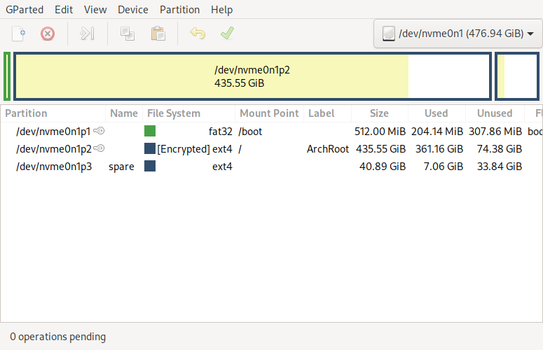 Example partitions for a system with Linux only